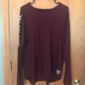 PINK Victoria's Secret Burgundy Long Sleeve Top L